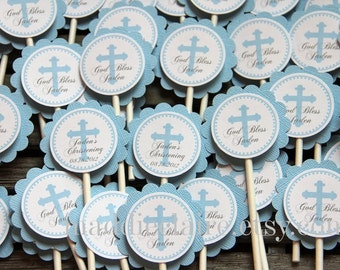 Personalized Blue CHRISTENING, BAPTISM or First COMMUNION Cupcake toppers