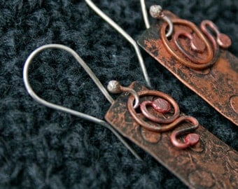 Handmade Earrings of Copper and Sterling Silver