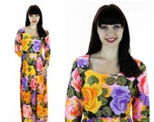 60s Floral Maxi Dress 1960s Mod Vintage Gold Metallic Bright Flowers Psychedelic Abstract Sixties Empire Waist Small S M Medium