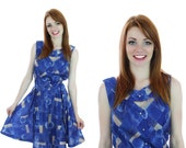 60s Cocktail Mod Dress Blue Psychedelic Circle Skirt Rhinestone Buttons Sixties 70s Mod Mini Medium M