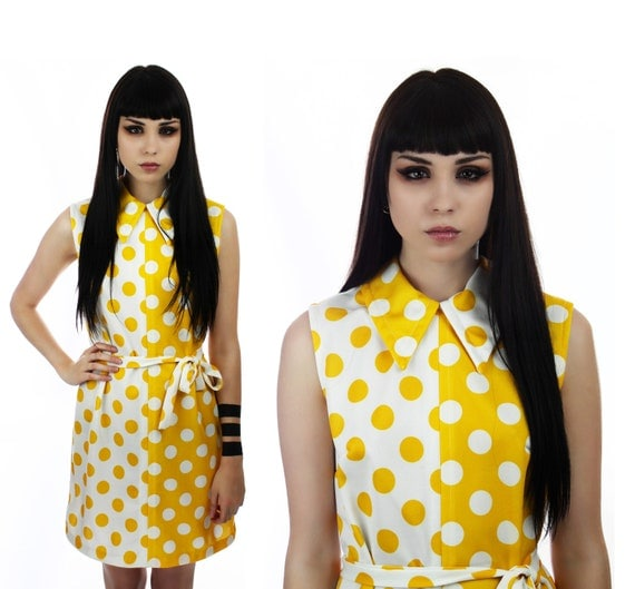 Mod Mini Dress Yellow 60s Polka Dots Colorblocked Harlequin Joker 1960s 1970s 70s Reserved for makeupmadam