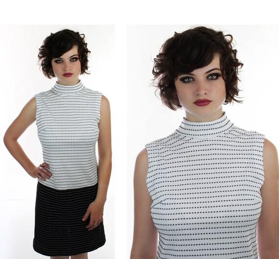 Colorblocked Mod Mini Drop Waist Dress Vintage 60s Polka Dots Black White Scooter 1960s 1970s 70s Small S Medium M