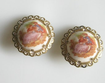 Vintage Courting Couple Lovers Sugared Earrings