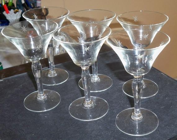 Antique etched starburst crystal glasses set of six - Starburst glassware ...