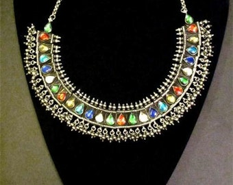 East Indian Rajasthani 925 sterling glass jeweled ethnic necklace vintage
