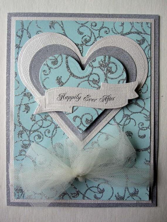Elegant Handmade Wedding Day card aqua and silver