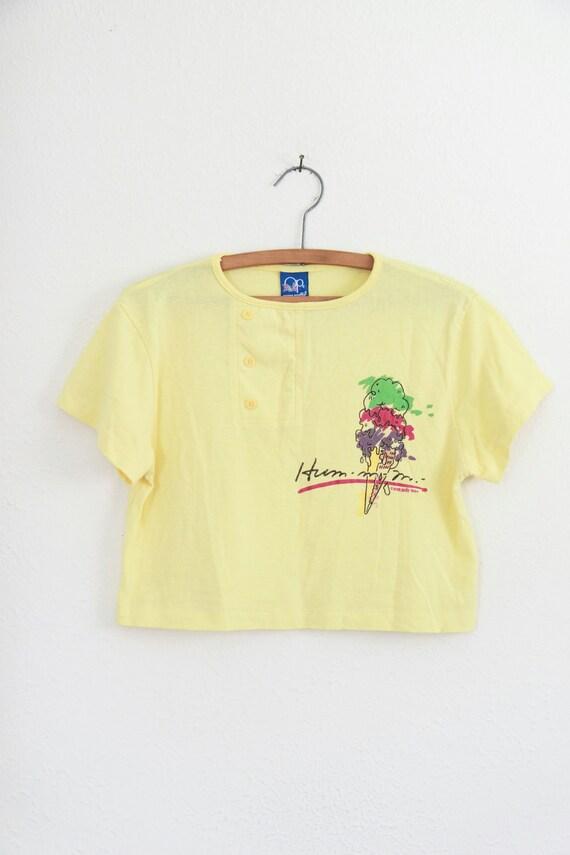 Vintage 1980s Yellow Ice Cream Cone Crop Top