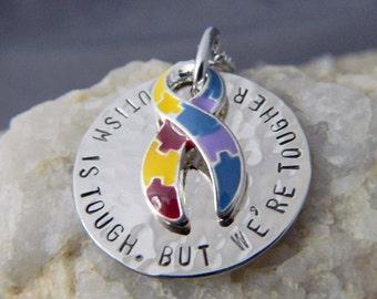 Autism is Tough. But We're Tougher Puzzle Ribbon Necklace