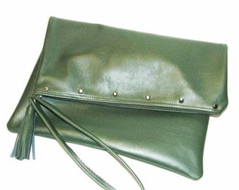 Hunter Green Lambskin Large Zipper Clutch Tassel Wristlet Letter Pad Portfolio Handmade