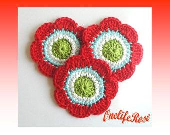 Crochet Flowers 3 pcs