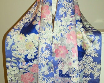 Handmade Japanese Silk Kimono Fabric Scarf/ Shawl/Wrap.Cherry Blossoms.Orchids.Roses.Long Island Bride/Wedding Gift/Clutch Purse Bag