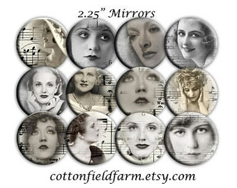 Vintage Hollywood Romantic Ladies 2.25 Inch Mirrors Set of 12  for Party favors, Weddings, Showers, 1940s  Parties