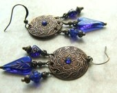Gypsy Dangle Earrings, Vintage Glass Beads, Sapphire Blue