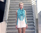 Chunky cotton triangle fringe scarf - Turquoise
