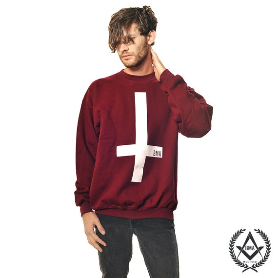 Crew Sweater / / Inverted Cross Maroon BMA Modified Large