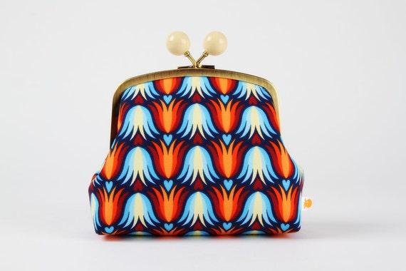 Color bobble pouch - Tulipa blue - metal frame clutch bag