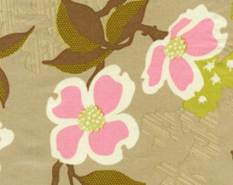 Dogwood Bloom Modern Meadow Pink and Maple Brown Fabric by Joel Dewberry - 1 yard