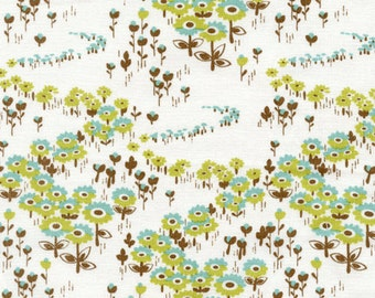 Modern Meadow Flower Floral FieldsTimber Brown Green Fabric by Joel Dewberry - 1 yard