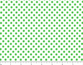 Lots of Dots Lime Green on White Spotty Dot Polka Dots Cotton FABRIC - 1 Yard