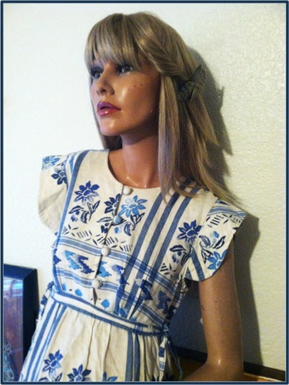 Vintage 60s Boho Blue Cream Cotton Peasant Sundress Neiman Marcus Dress