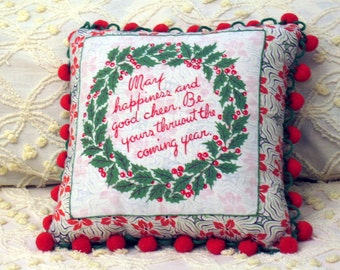 Decorative Christmas Holiday Pillow, HoHo Holly 1 vintage textile holiday pillow
