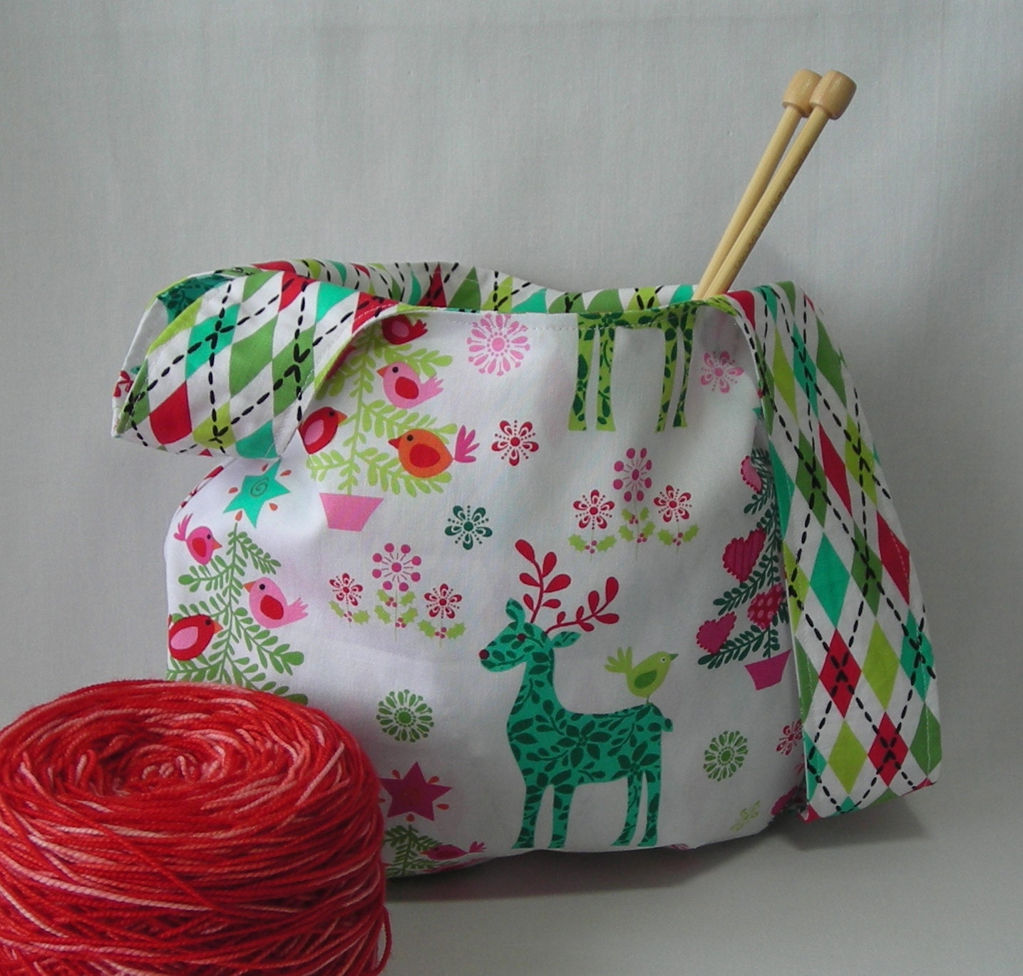 Crochet Japanese Knot Bag Pattern : knit crochet project bag Japanese knot bag reindeer tree