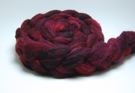 Crush Crush Crush - 4 oz Handpainted Red Burgundy Merino Silk Wool Roving Top