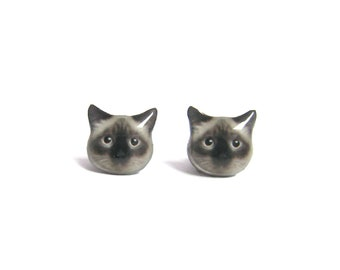 Cute Birman Cat Kitten Stud Earrings - A025ER-C08  Made to Order / Pet memorial gift / Cat Jewelry / personalized / Cat Lover / Pet Lover