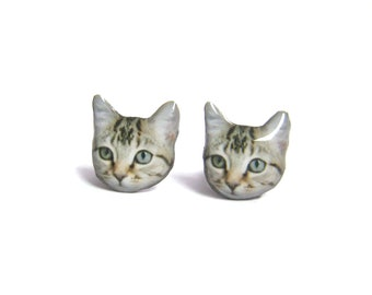 Cute Little Cat Kitten Stud Earrings - A025ER-C03    Made To Order / Pet memorial gift / Pet Jewelry / personalized / Cat Lover / Pet Lover