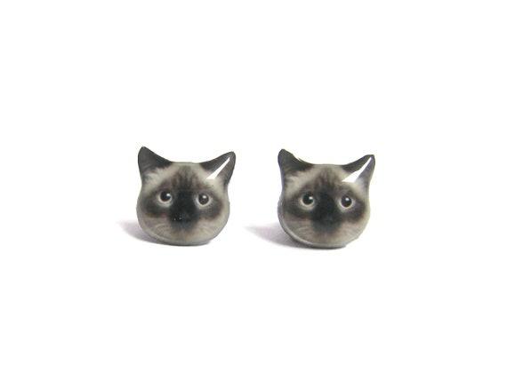 Cute Birman Cat Kitten Stud Earrings - A025ER-C08  Made to Order