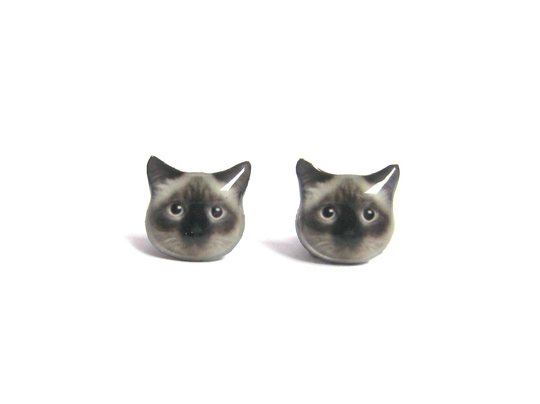 birman cat kitten stud earrings a025er c08 made to