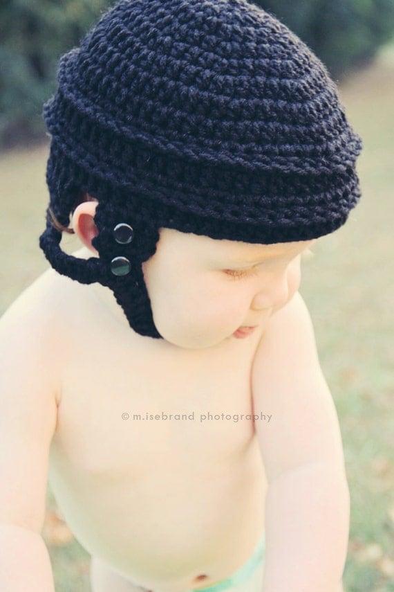 Hockey Helmet Hat Crochet Photo Prop.