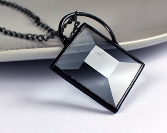 Smoky Topaz Glass Prism - Stained Glass Jewelry Necklace