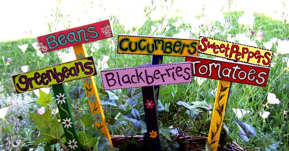 6 Handpainted wooden garden plant markers your choice
