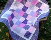 Patchwork Quilt or Throw Blanket Baby Girl  Pink Purple Floral