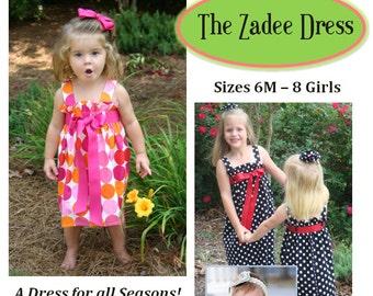 The Zadee Dress Pattern - PDF File - Ruffle Top Dress with Interchangeable Ribbon Belt