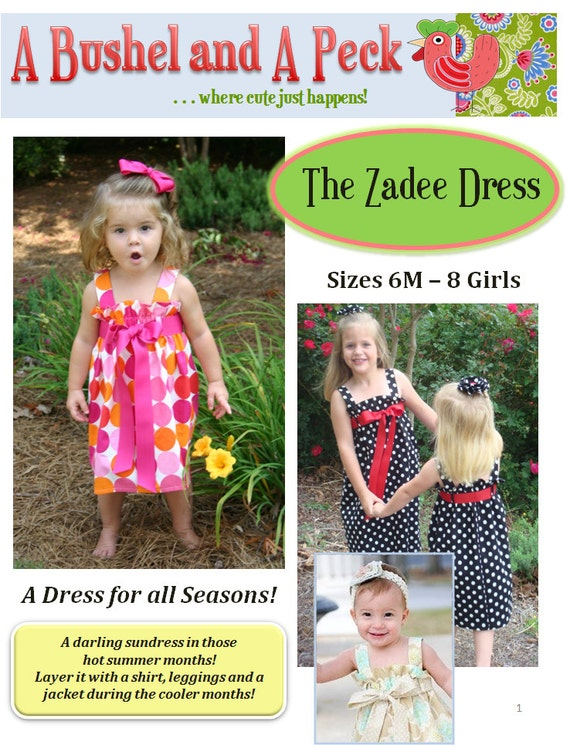 The Zadee Dress Pattern - PDF File - Ruffle Top Dress with Interchangeable Ribbon Belt