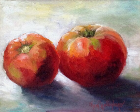 Red Tomatoes 8x10 Original Realistic Painting Oil Canvas by Cheri Wollenberg