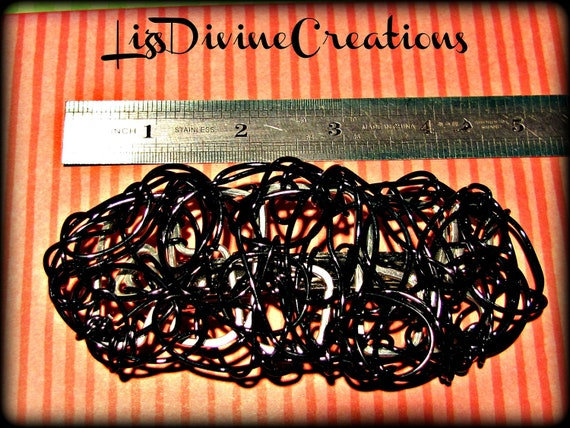 Large Black Wire Wrapped Barrette on Silver Hammered Wire 5 Inches