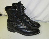 sz 8.5 b vintage justin black leather  lace up granny combat boots