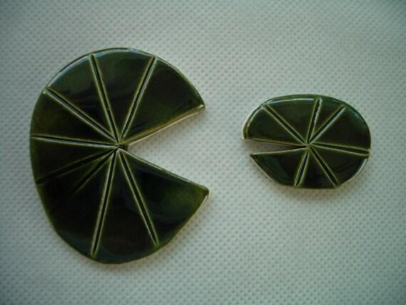 FB1 -  GORGEOUS Bright LILLY Pads Set - Ceramic Mosaic Tiles
