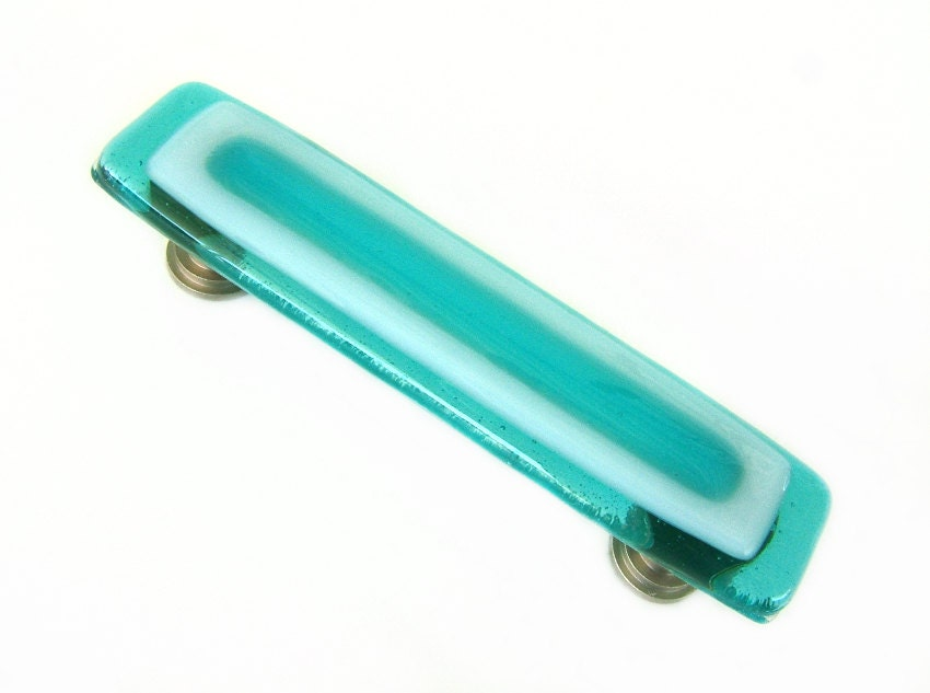 Aqua beachy art glass drawer pulls or cabinet handles custom for Turquoise cabinet pulls