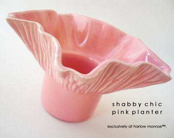 Vintage Pink Pottery Planter - Shabby Chic Cottage Decor - Mid Century Studio Pottery