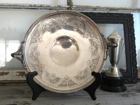 Vintage SILVER PLATE Tray - Wedding Cake Plate - Wedding Decor