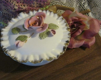 Beautiful porcelain white with pink roses covered round bowl with gold leaf edge