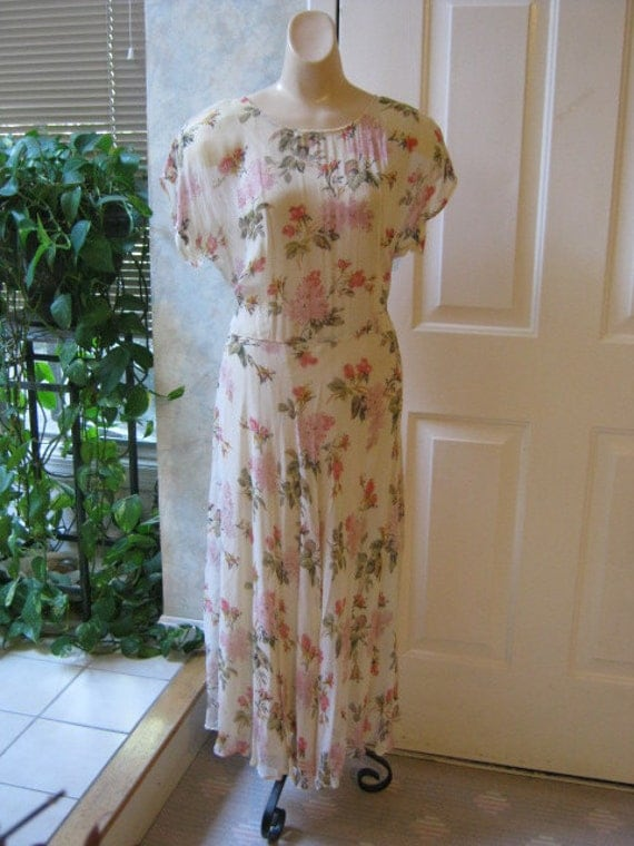 Garden party soft rayon flowery dropped waist dress with full slip Gatsby style M