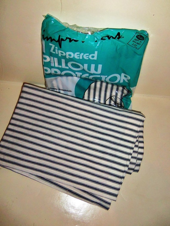 2 Vintage Pillowcase Blue White Ticking Stripe  Pillow Cover Farmhouse Primitive