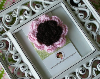 NEW ITEM----Boutique Two Toned Crochet Flower Clip-----CALI