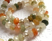 Rutilated Quartz - mixed color, 8mm faceted rondelle gemstone beads, 16 inch strand (one only)