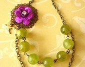 Bridesmaid Jewelry Flower Necklace Green Jewelry Olive Green Necklace Purple Jewelry Bird Chartreuse Necklace Bridesmaid Gift Beadwork
